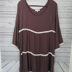 Umgee Plus 1XL Brown White Short Sleeve Tunic